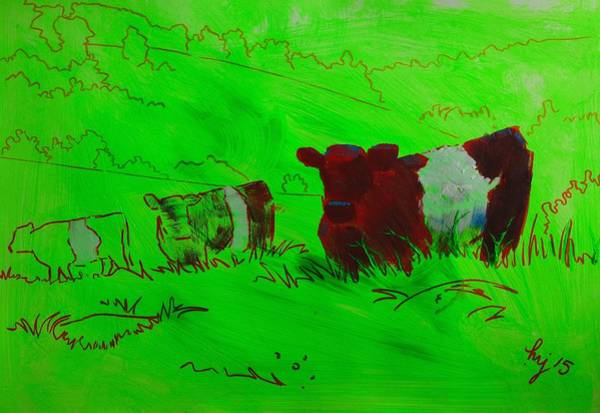 Painting - Belted Galloway Cows On Dartmoor by Mike Jory