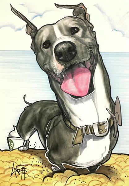Pet Portrait Drawing - Belushi 7-1367 by John LaFree