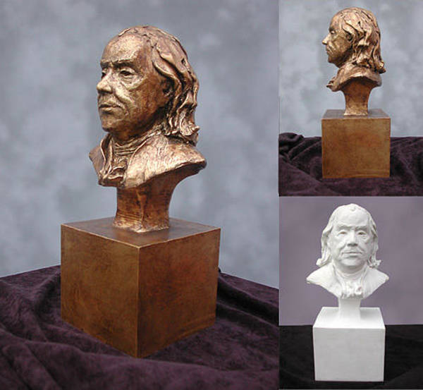 Sculpture - Ben Franklin Portrait Bust by John Gibbs