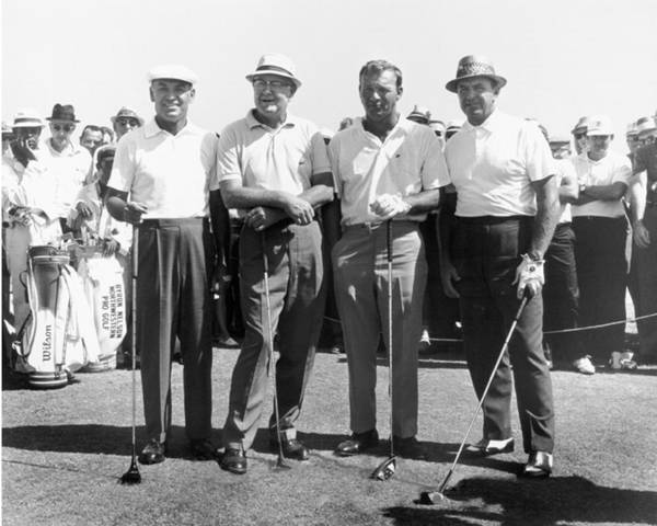 Hogan Photograph - Ben Hogan, Byron Nelson, Sam Snead, Arnold Palmer Golfers by Peter Nowell