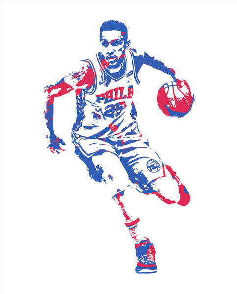 Wall Art - Mixed Media - Ben Simmons Philadelphia 76ers Pixel Art 20 by Joe Hamilton