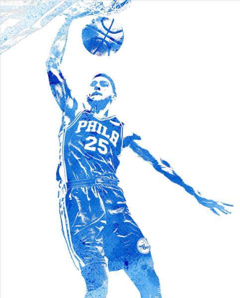 Wall Art - Mixed Media - Ben Simmons Philadelphia 76ers Water Color Pixel Art 4 by Joe Hamilton