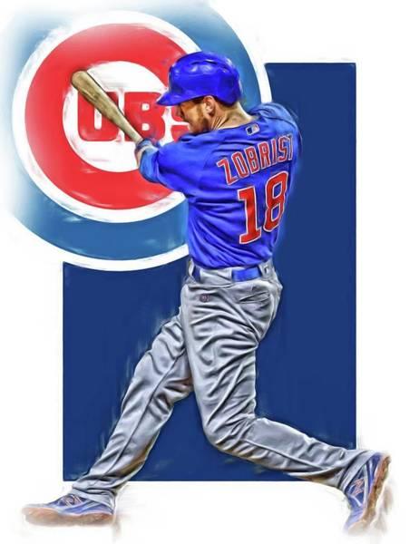 Wall Art - Mixed Media - Ben Zobrist Chicago Cubs Oil Art by Joe Hamilton