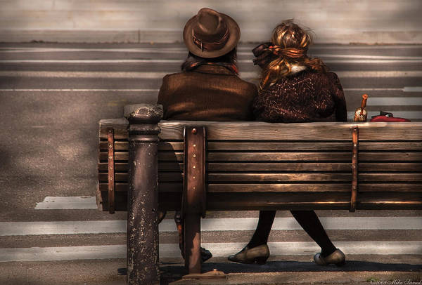 Photograph - Bench - A Couple Out Of Time by Mike Savad