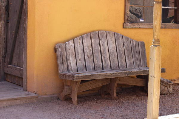 Photograph - Bench And Mustard Yellow Adobe by Colleen Cornelius