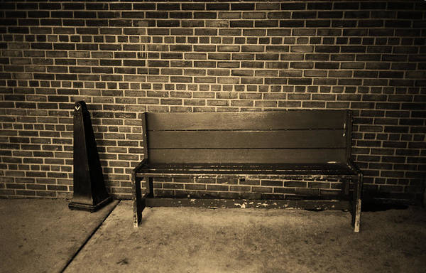 Photograph - Bench Behind Stop And Shop Sepia 2018 by Frank Romeo