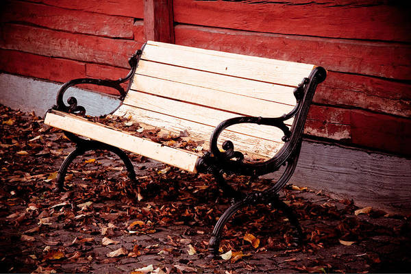 Sverige Photograph - Bench By The Red Wall  by Maggie Terlecki