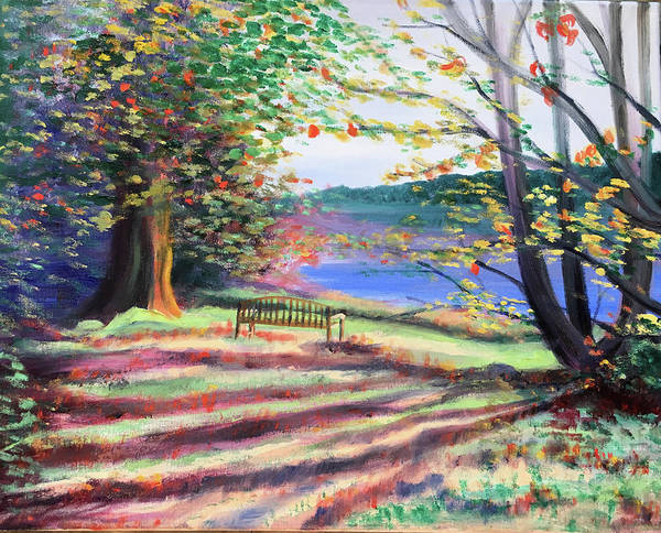 Wall Art - Painting -  Bench In Bernheim Forest by Susan Brooks