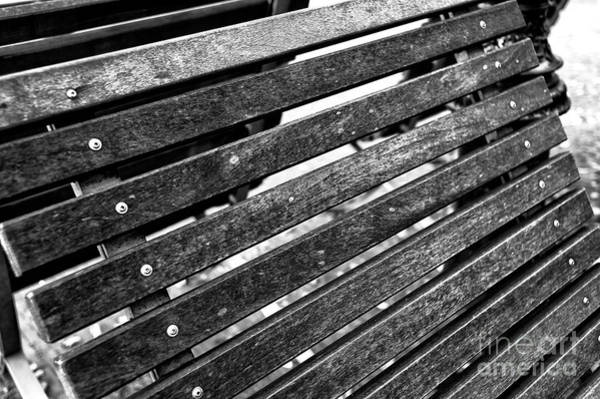 Holland America Line Wall Art - Photograph - Bench Lines In Amsterdam Mono by John Rizzuto