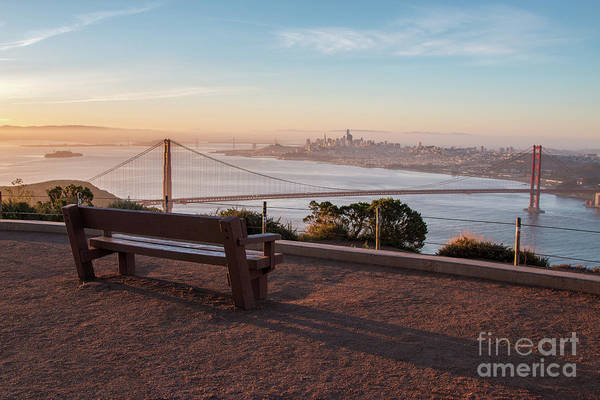 Bench Overlooking Downtown San Francisco And The Golden Gate Bri Art Print