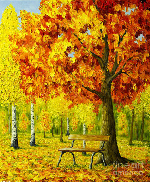 Bench Under The Maple Tree Art Print