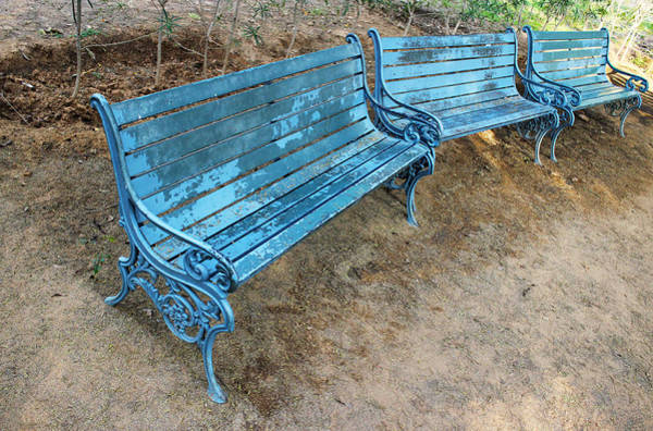 Wall Art - Photograph - Benches And Blues by Prakash Ghai