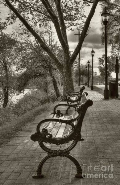 Photograph - Benches On Riverside Drive Sepia Tone by Mel Steinhauer
