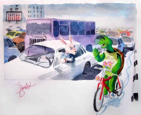 Rabit Painting - Benefits Of Cycling by Mehrdad Sedghi
