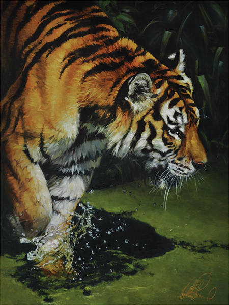 Predator Painting - Bengal Tiger by Heather Theurer