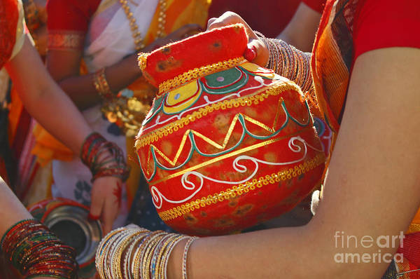 Folk Dances Photograph - Bengali Maiden Dancers With Water Jars by Charline Xia