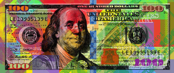Digital Art - Benjamin Franklin $100 Bill - Full Size by Jean luc Comperat