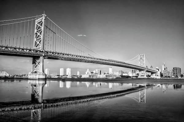 Wall Art - Photograph - Benjamin Franklin Bridge View Of Philadelphia  - Black And White by Bill Cannon