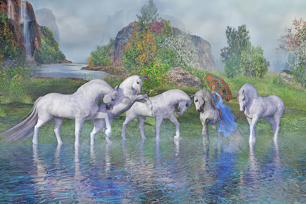 Cheery Digital Art - Benjamin's Velveteen Horses by Betsy Knapp