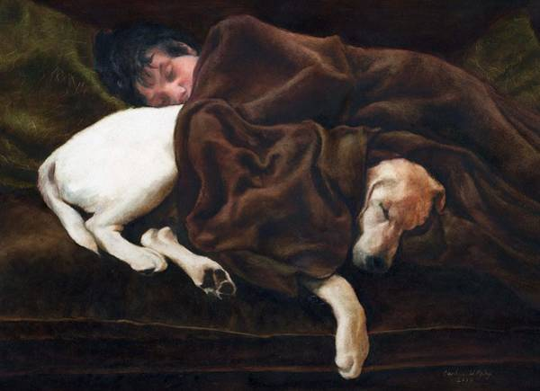 Snuggle Painting - Bennett And Nuff by Candy Maley