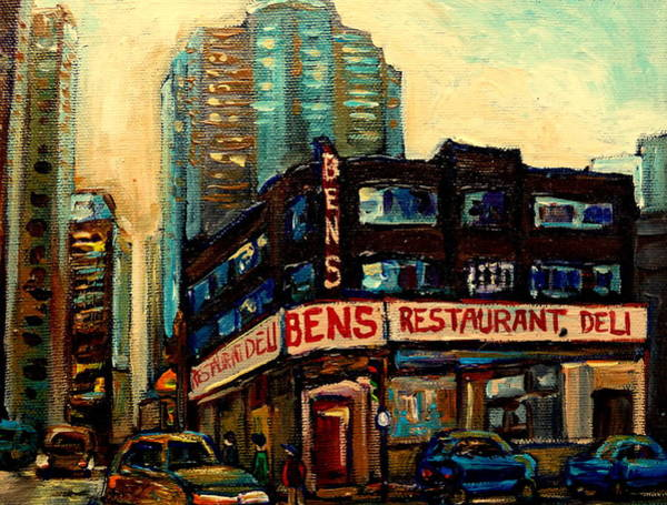 Old Montreal Painting - Bens Restaurant Deli by Carole Spandau