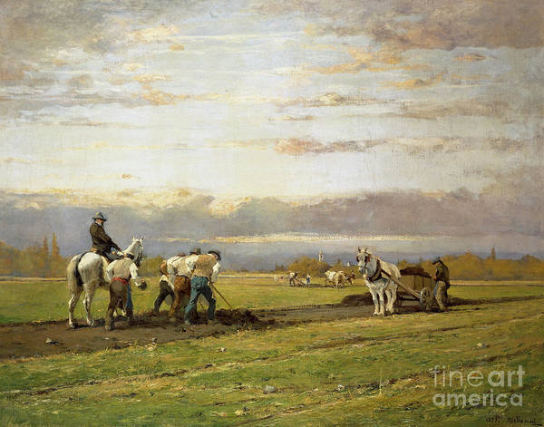 Ploughing Painting - Bent Over The Earth by Lorenzo Delleani