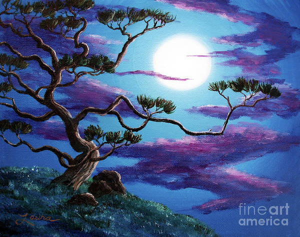 Zen Buddhism Painting - Bent Pine Tree At Moonrise by Laura Iverson
