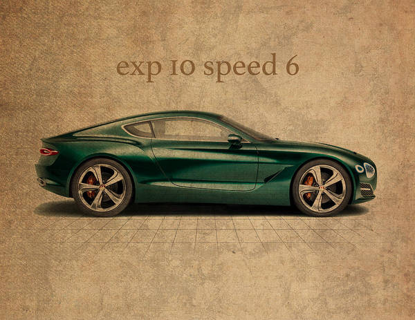 Speed Mixed Media - Bentley Exp 10 Speed 6 Vintage Concept Art by Design Turnpike