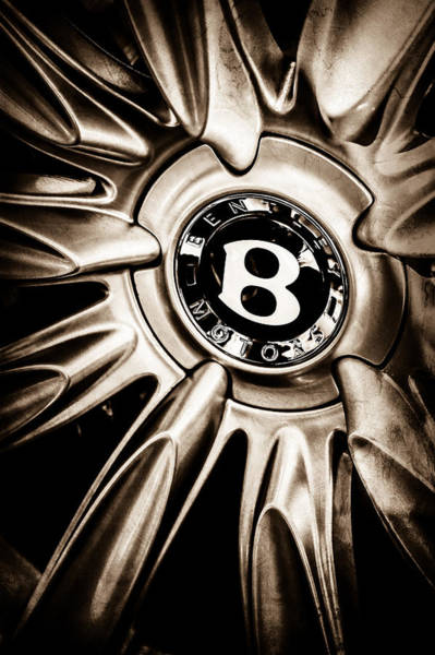 Photograph - Bentley Wheel Emblem -0303s by Jill Reger