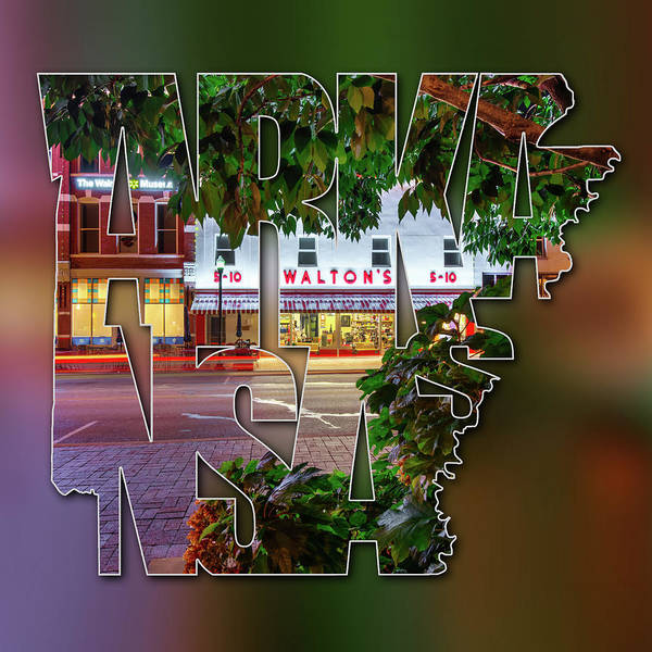 Photograph - Bentonville Arkansas - State Shape Series - Typography Blur - A Night On The Bentonville Square by Gregory Ballos