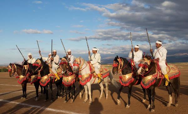 Berber Wall Art - Photograph - Berber Horsemen Lined by Panoramic Images