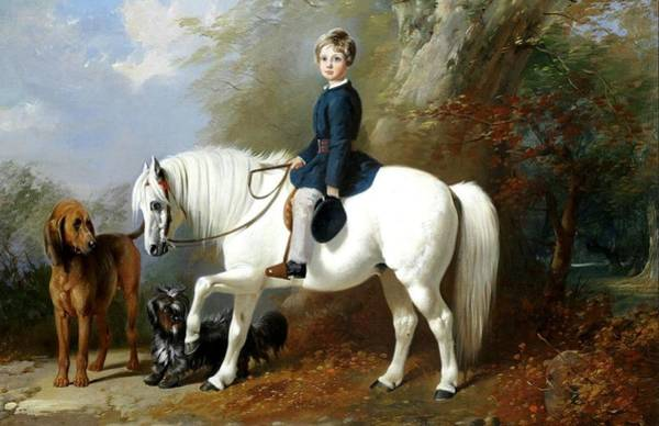 Wall Art - Painting - Beresford Lowndes With His Favourite Pony And Dogs by Henry Barraud