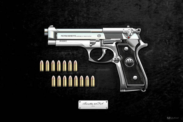 Digital Art - Beretta 92fs Inox With Ammo On Black Velvet  by Serge Averbukh