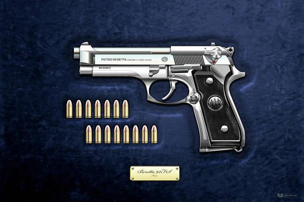 Digital Art - Beretta 92fs Inox With Ammo On Blue Velvet  by Serge Averbukh