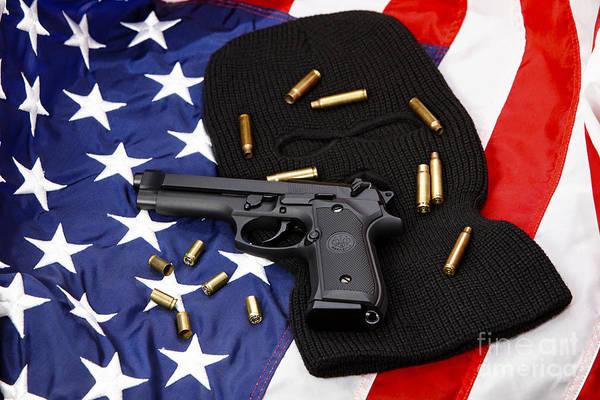 Beretta Photograph - Beretta Handgun Lying On Balaclava And United States Of America Flag With Used Shell Casings by Joe Fox