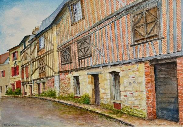 Half Timbered Painting - Bergerac Aquarelle by Dai Wynn