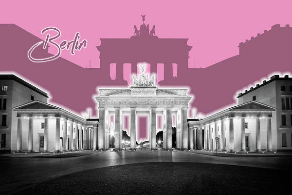 Wall Art - Digital Art - Berlin Brandenburg Gate - Graphic Art - Pink by Melanie Viola