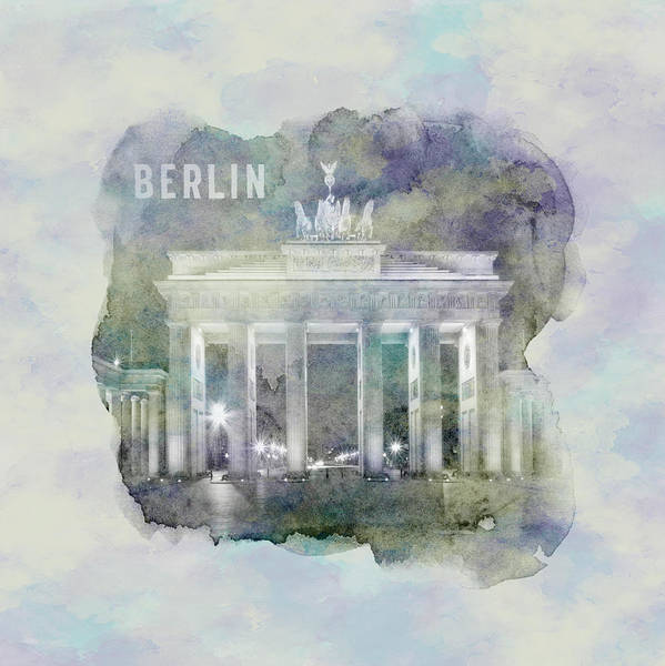 Wall Art - Photograph - Berlin Brandenburg Gate - Watercolor by Melanie Viola