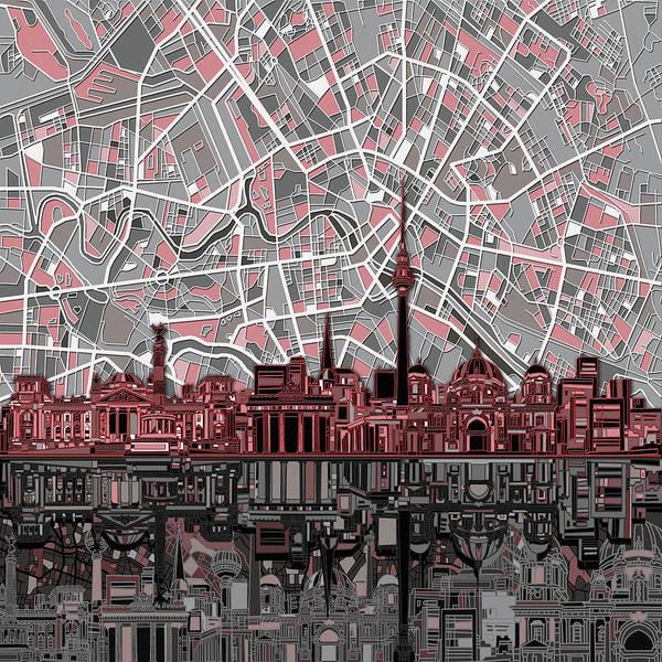 Mapping Digital Art - Berlin City Skyline Abstract by Bekim M