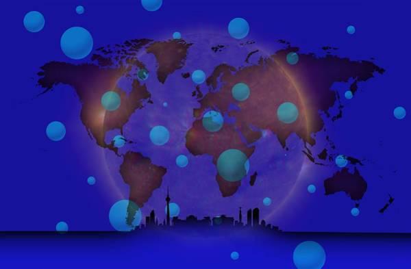 Digital Art - Berlin In Blue Worldmap by Alberto RuiZ