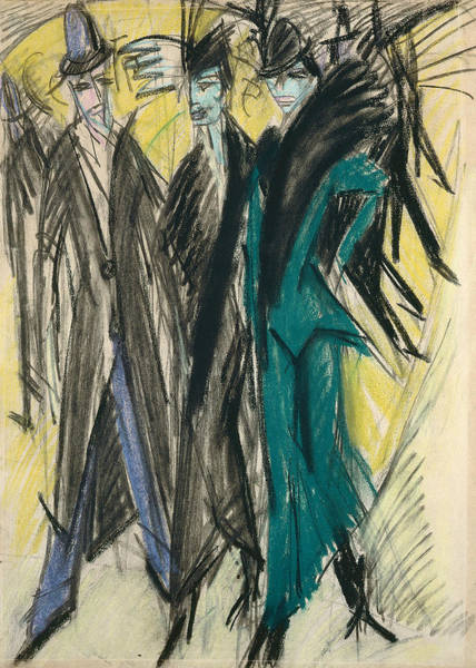 Pastel - Berlin Street Scene by Ernst Ludwig Kirchner