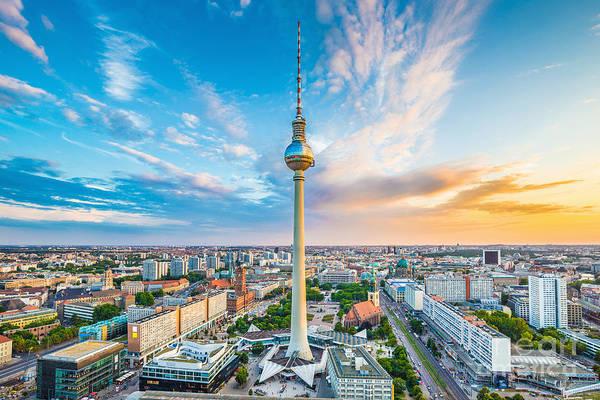 Fernsehturm Photograph - Berlin Sunset by JR Photography