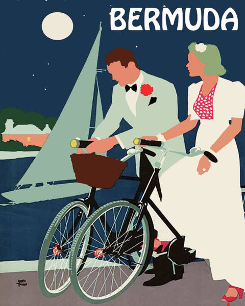 Full Moon Painting - Bermuda, Night Bicycling, Young Couple by Long Shot