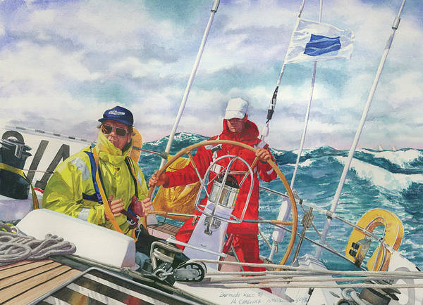 Big Wave Painting - Bermuda Race Competitors by Marguerite Chadwick-Juner