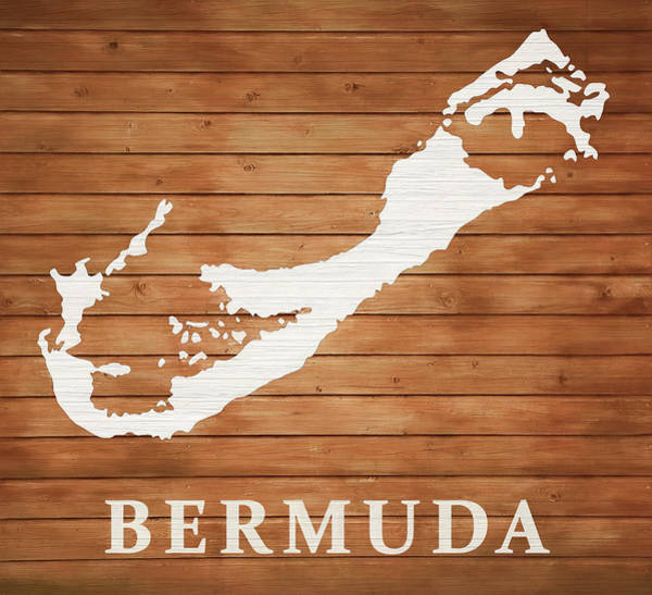 Wall Art - Mixed Media - Bermuda Rustic Map On Wood by Dan Sproul
