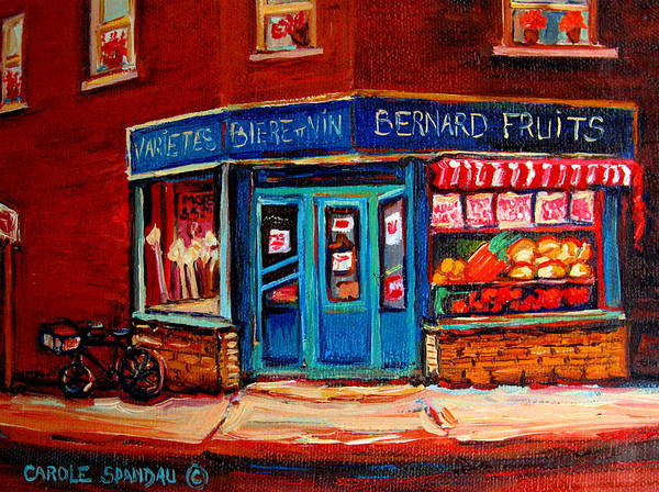 Luncheonettes Painting - Bernard Fruit And Broomstore by Carole Spandau