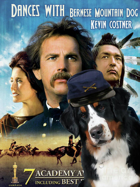 Wall Art - Painting - Bernese Mountain Dog Art Canvas Print - Dances With Wolves Movie Poster by Sandra Sij