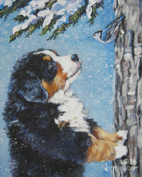 Wall Art - Painting - bernese Mountain Dog puppy and nuthatch by Lee Ann Shepard