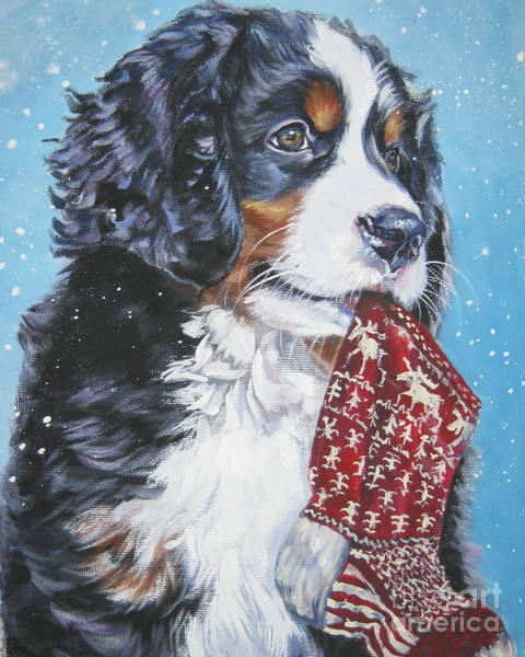 Stocking Wall Art - Painting - Bernese Mountain Dog Xmas Stocking by Lee Ann Shepard