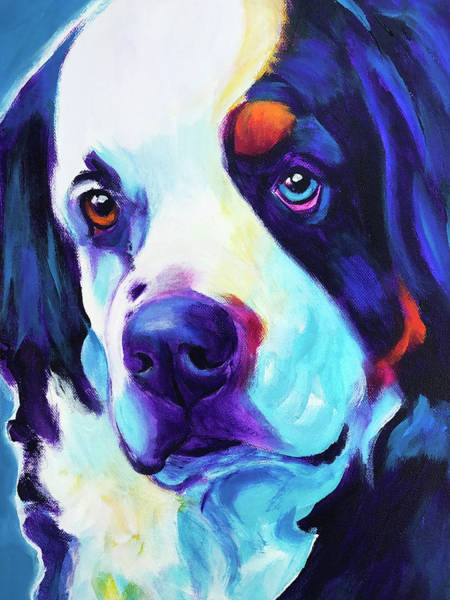 Wall Art - Painting - Bernese Mountain Dog - Zeke In Blue by Alicia VanNoy Call